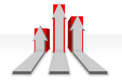 Curved arrows and red boxes. Tree gray horizontal arrows which curve upwards to different heights stock illustration