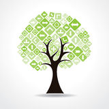 Tree with green arrow icons Royalty Free Stock Image