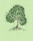 Tree on a green background stock illustration