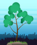 VECTOR Tree. Green tree on a background of the urban landscape and sky royalty free illustration