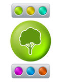 Tree on green button Stock Image