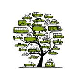 Tree with green cars, transportation concept for Royalty Free Stock Image
