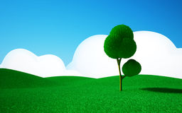 Tree on a green field. 3d cartoon landscape, a tree on a green field, hills and blue sky with clouds Royalty Free Stock Images