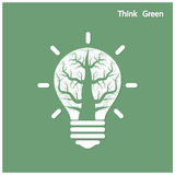 Tree of green idea shoot grow in a light bulb Stock Photo