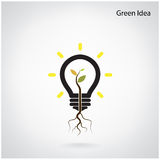 Tree of green idea shoot grow in a light bulb Stock Photography