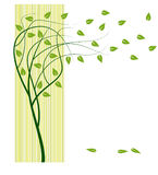 Tree with green leafs. Wind and tree with green leaves. vector Royalty Free Stock Photography