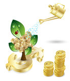 Tree with green leafs and money Stock Image