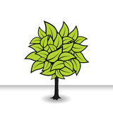 Tree with green leafs. Vector Royalty Free Stock Photography
