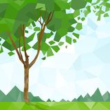 Tree green leaves polygon graphic with copy space Stock Image