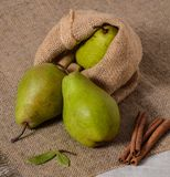 Tree green pear rustic style cinammon fruit burlap stock images