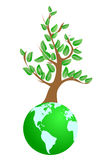 Tree on green planet Stock Photography