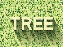Tree on green triangle background. Tree on green triangle background flat color vector illustration