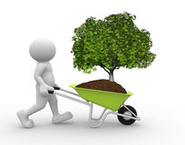 Tree green in wheelbarrow. 3d people - human character and earth with a tree green in wheelbarrow. 3d render illustration Royalty Free Stock Image