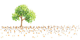 Tree and ground. Dot painting background royalty free illustration