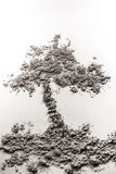Tree in the ground illustration made of ash Royalty Free Stock Photography