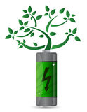 Tree growing from the battery Stock Photo