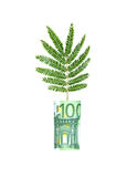 Tree growing from euro bill Stock Photography