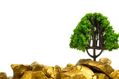 Tree growing on pile of gold nuggets, growth business finance investment concept. Idea royalty free stock photo