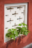 Tree growth through white air vents on the red wall Stock Photo