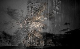 The tree on the grunge background. Art concept.  stock images