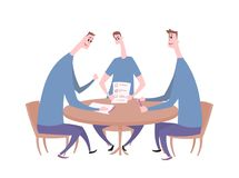 Tree guys having a conversation at the table. Business meeting, job interview, negotiation. Flat vector illustration stock illustration
