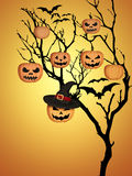 Tree Halloween Pumpkins Bats Orange Background Royalty Free Stock Photography