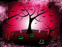 Tree Halloween Shows Trick Or Treat And Autumn Stock Photo
