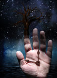 Tree with Hand. And clock Royalty Free Stock Photos