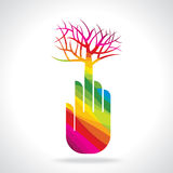 Tree with hand illustration, creative concept Stock Photography