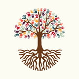 Tree hand illustration for diverse people team help Royalty Free Stock Image