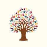 Tree hand illustration of diverse people team help Royalty Free Stock Image