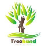 Tree hand logo Royalty Free Stock Images