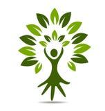 Tree hand logo. Tree hand figure symbol of healthy logo vector Stock Photo