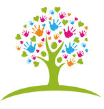 Tree with hands and hearts logo. Tree with hands and hearts figures logo Stock Image