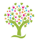 Tree with hands and hearts family figures logo. Tree with children hands and hearts family figures logo vector can represent unity,community, help and friendship Stock Photos