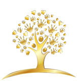 Tree with hands and hearts logo. Tree with hands and hearts figures gold design logo Stock Photography