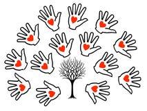 Tree Hands and Hearts Stock Photo