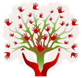 Tree with Hands in Red and Green Stock Photography