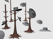 Tree Hanger Hat Decor_Raster Stock Photo