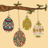 Tree hanging easter eggs. Happy Easter hanging eggs from tree branch. Vector file layered for easy manipulation and customisation Stock Photography