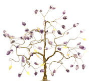 Tree of happiness. Tree yielding good luck and happiness with the colors of amethyst and gold leaf Stock Images