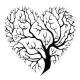 Tree-heart. Elegant heart-shaped isolated tree silhouette Stock Photography