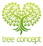 Tree Heart Icon Concept. Tree icon concept of a stylised tree with leaves in a heart shape, lends itself to being used with text stock illustration