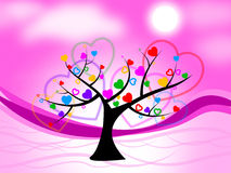 Tree Heart Means Valentine's Day And Hearts Royalty Free Stock Photo