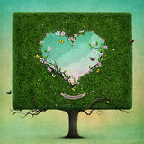 Tree with heart Mother's Day. Greeting card or poster with  square tree and  heart for Mother's Day. Computer graphics Royalty Free Stock Photos
