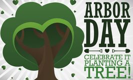 Tree with Heart Shaped Foliage to Celebrate Arbor Day, Vector Illustration. Beautiful tree with heart shaped foliage and some leaves around it, promoting tree royalty free illustration
