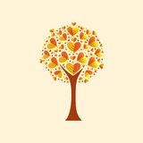 Tree with heart-shaped leaves. Vector Illustration Stock Photography