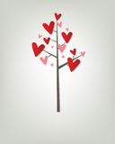 Tree with hearts. Creative vector poster Royalty Free Stock Photo
