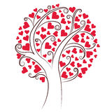 Tree of hearts. Abstract vector heart tree. Valentine Day, love, wedding, background Royalty Free Stock Photography