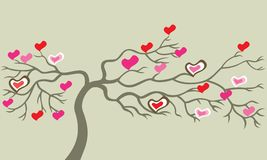 Tree with hearts. Royalty Free Stock Photos